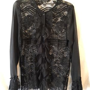 Walter Baker black lace blouse